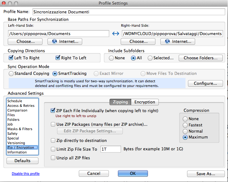 syncovery zip directly to destination
